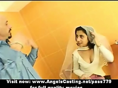 Killer brunette indian bride talking with a guy