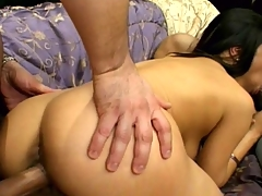 Piquant Indian lady Chadra slurping and humping two immense shafts