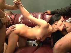 Horny indian wifey getting group-fucked by 3 dudes