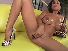 Oiled up Priya Rai sucks on a big dick