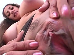 Indian girl with big natural string up melons fucking