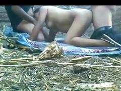 Desi Village Aunty Sucks and Bonks 2 Policemen Outside