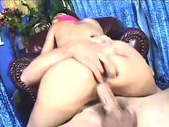 Skinny ash-blonde whore with huge fake milk sacks gets a deep and raw banging
