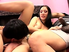 Wild Indian babe has two horny guys taking turns fucking her tight delicious peach