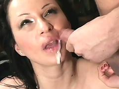 Buxom brunette with sexy legs gets nailed hard in various positions