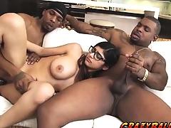 Wild bombshell chick Mia Khalifa strokes her large cock
